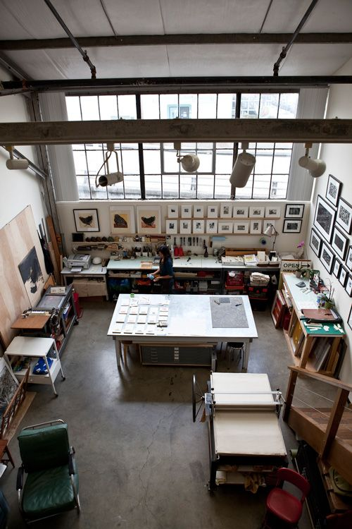 love this work space! Sirima Sataman of ink.paper.plate Press moved into this studio in San Francisco's Dogpatch District one year ago.
