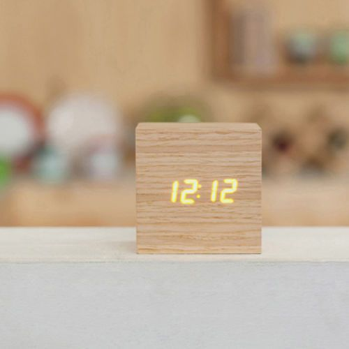 [Mooas] LED Wooden Alarm Clock Time Real Wood Gift Compact Brand New (MiniType)