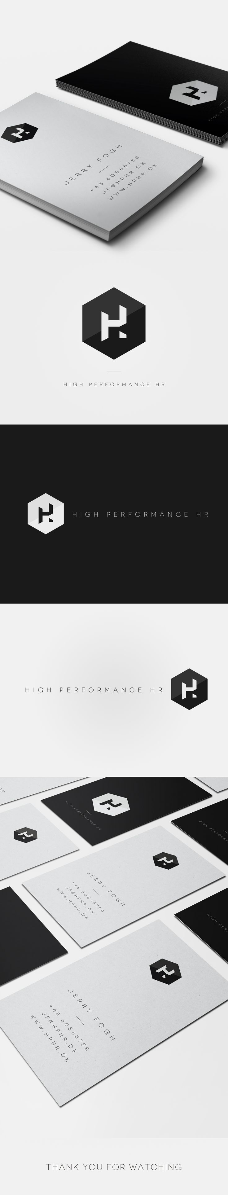 High Performance HR - Art Direction, Branding. High Performance HR makes it possible to scale the HR investments to fit clients needs regarding both: Size, Speed and Economy. They want to support people and organizations in their efforts to grow. I've designed the new logo and business card look for High Performance HR. Logo Design, Visual Identity, Color palette, Business Card Design, High Performance HR.