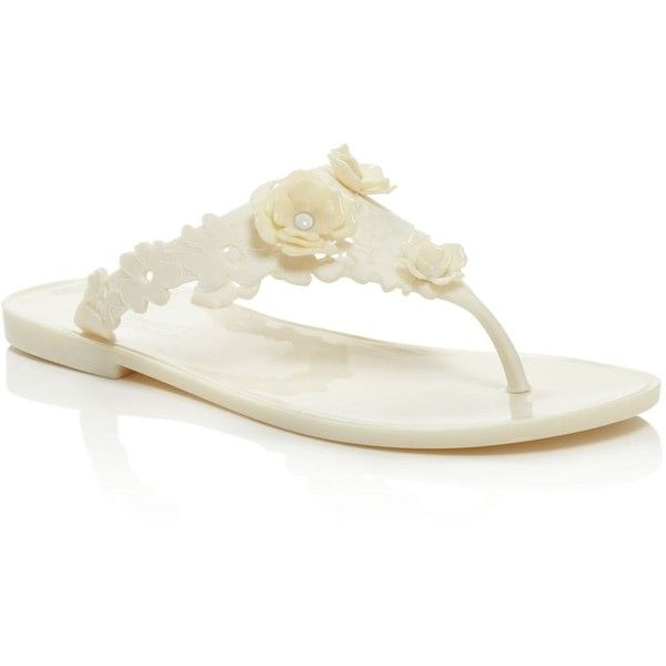 Badgley Mischka Bali Floral Jelly Flip Flops (6.065 RUB) ❤ liked on Polyvore featuring shoes, sandals, flip flops, ivory, floral shoes, flower print shoes, ivory sandals, flower pattern shoes and badgley mischka