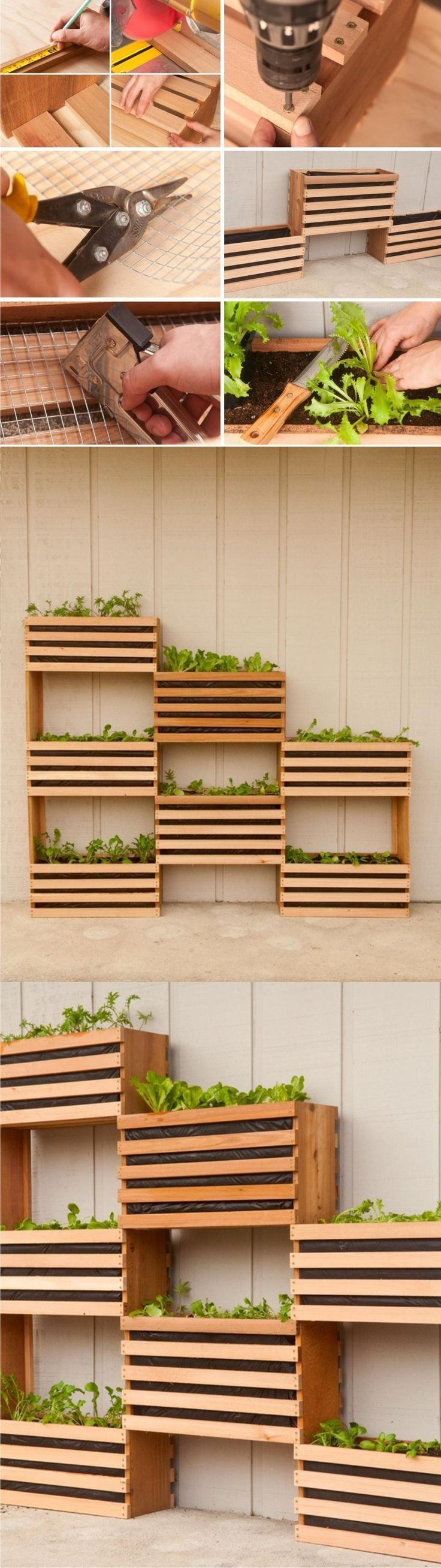 Perfect for folks with limited space, or who just prefer a stylish #garden bed for their deck, patio, or back yard, these vertical stacking planters are totally DIY-able.