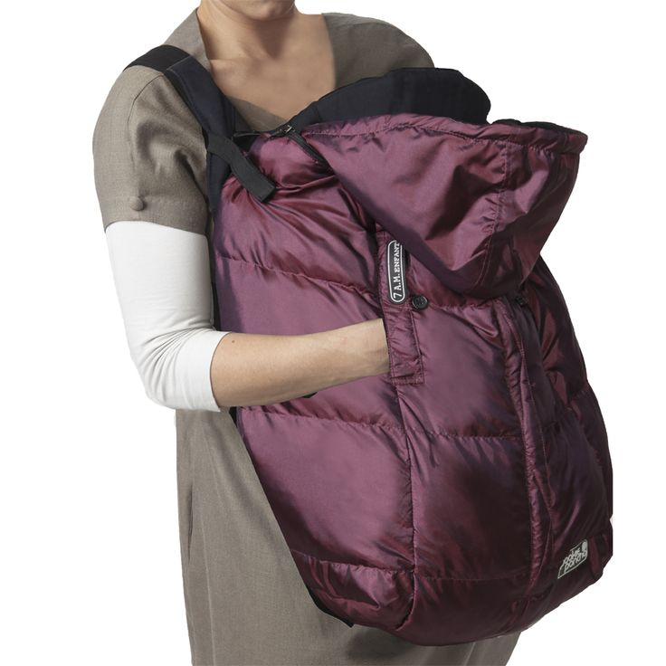 7 A.M. Enfant Pookie Poncho in Plum - can be used as a carrier cover in winter. Love this idea and the beautiful color!