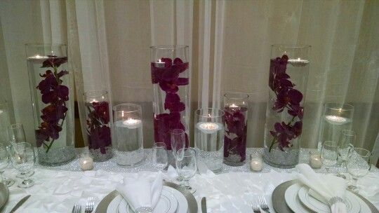 Centerpieces with floating candles