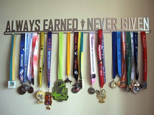 Swim ribbons  ...Well how fitting.…I guess he can say that is so true.