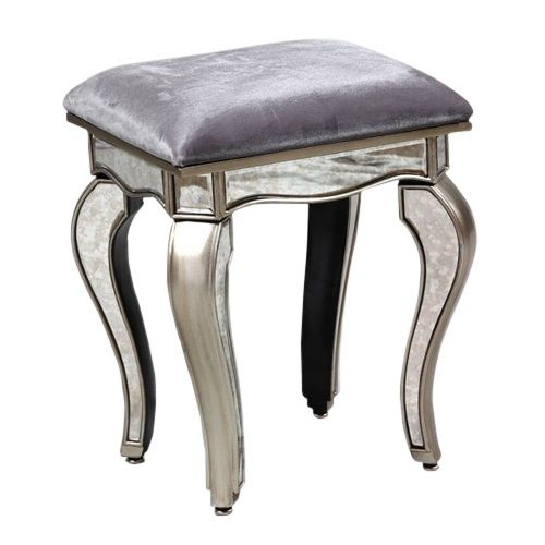 Antique mirrored dressing table stool with velvet seat - £181.80 Shop > http://www.beau-decor.co.uk/demos/beau/french-bedroom-furniture/dressing-tables-stools/antiqued-mirrored-dressing-table-stool?cPath=173&