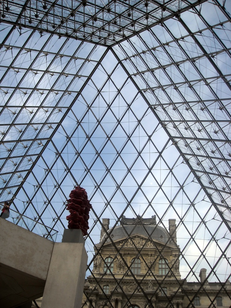 The Louvre glass pyramid from the inside