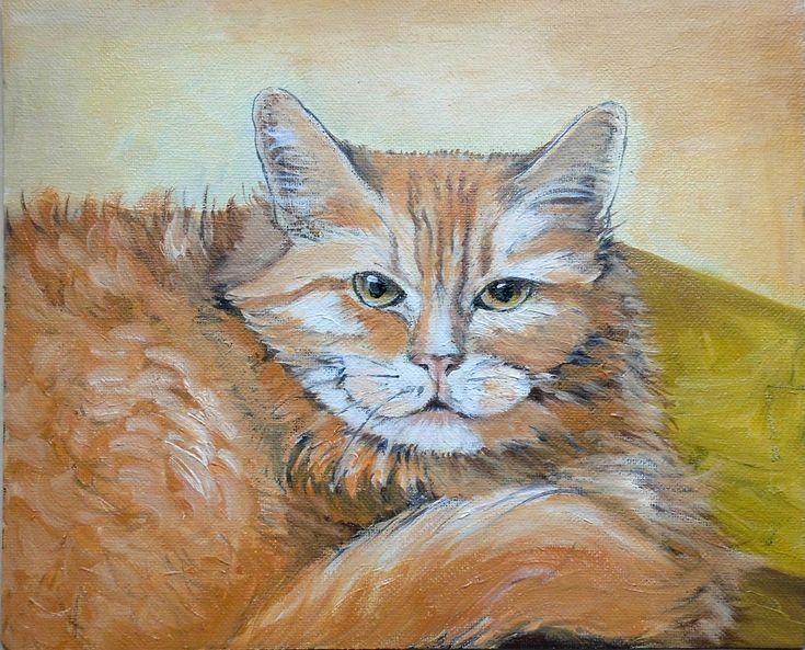 Cat portrait unfinished. Oil painting.