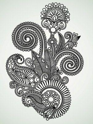 Hand draw line art ornate flower design Stock Photo - 10798001