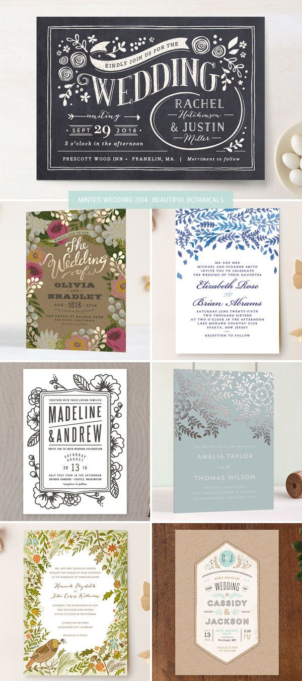 Minted 2014 Wedding Invitations : Beautiful Botanicals as seen on invitationcrush.com