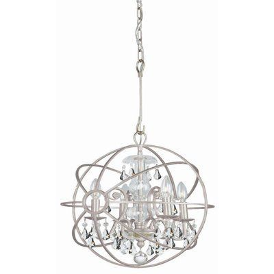 House of Hampton Hester 4 Light Crystal Chandelier Crystal Color: Clear Hand Cut, Finish: Olde Silver