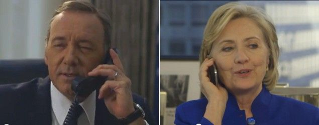 "Kevin Spacey calls Hillary Clinton in ""House of Cards"" spoof. (Screenshots/YouTube)"