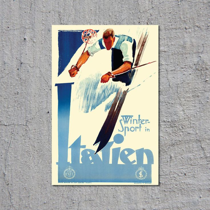 Winter Sport in Italien - ca.1935 - Vintage Ski Travel Tourism Poster by Franz Lenhart // High Quality Fine Art Reproduction Giclée Print by TheRetroPoster on Etsy