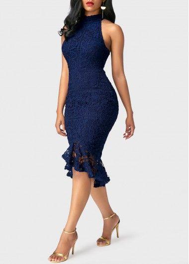 Navy Blue Sleeveless Asymmetric Hem Sheath Dress   Rosewe.com - USD $42.51