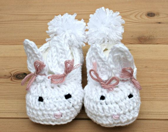 Luxury, Easter bunny, crochet baby booties, baby house slippers, white, bamboo, baby girl clothes, 3 -9m, 3 month girl clothes, babies gifts...