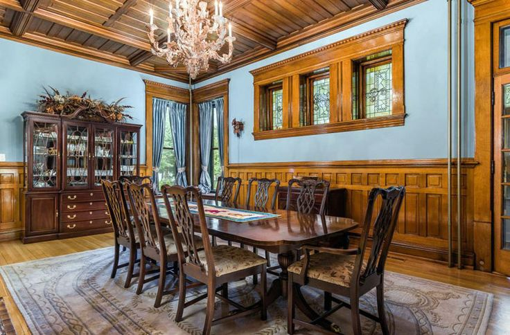 Two Tone Dining Room Ideas Pictures Craftsman Wood Wainscoting Home