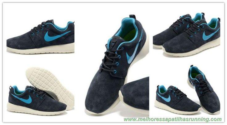 511881-065 Coal Preto/Charcoal Cinza/Sail Branco/Light Azul Nike Roshe Run comprar baratos
