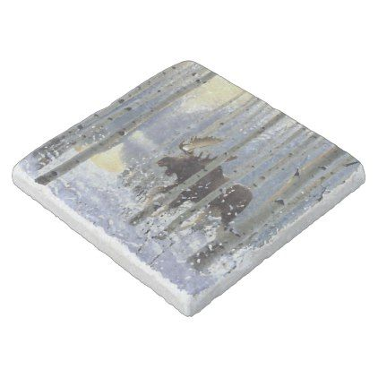 Moose In Winter Season Snow Watercolor Stone Coaster - rustic gifts ideas customize personalize