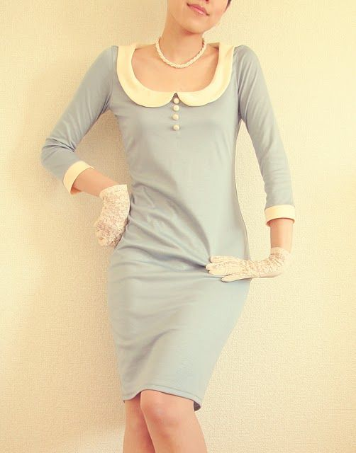 loooove.: Baby Blue, Fashion, Style, Peter Pan Collars, Dresses, Buttons, Something Blue, Flight Attendance, Feelings Blue