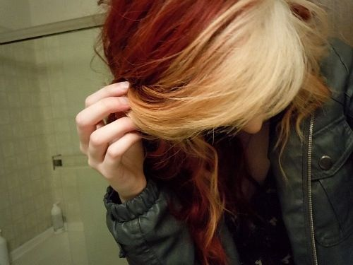 Red and blonde curly indie hair