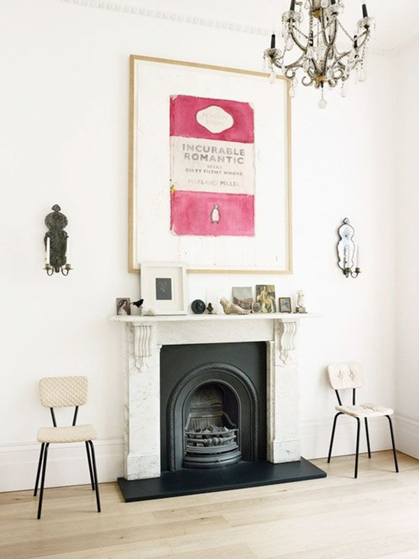 Penguin Books print over a classic fireplace {via la la lovely}. Perhaps I could watercolor something like this... Hmmm