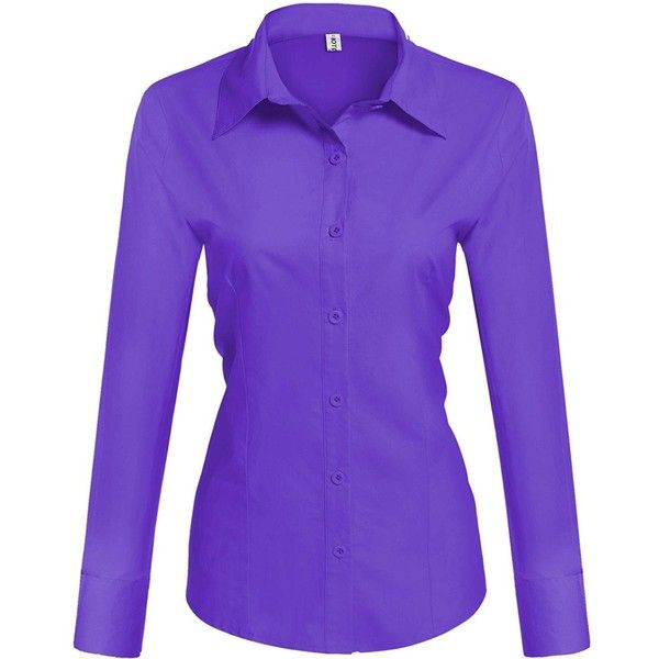 LE3NO Womens Tailored Long Sleeve Button Down Shirt with Stretch ($18) ❤ liked on Polyvore featuring tops, purple long sleeve top, long sleeve stretch shirt, purple shirt, purple button down shirt and purple button up shirt