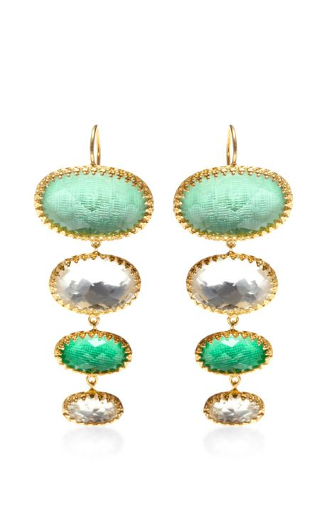 Large Tessa Earrings In Green by Larkspur & Hawk for Preorder on Moda Operandi