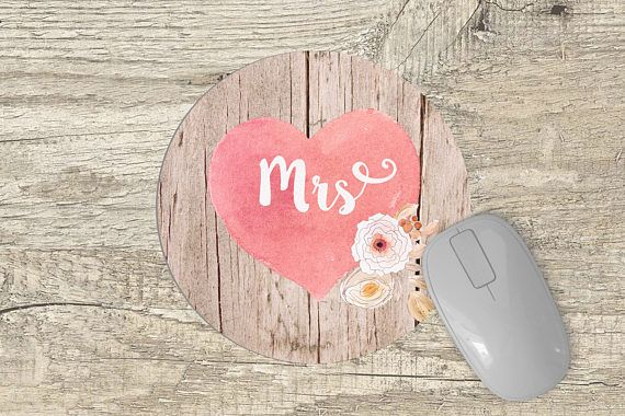 Round MousePad personalized  pink watercolor heart mouse pad
