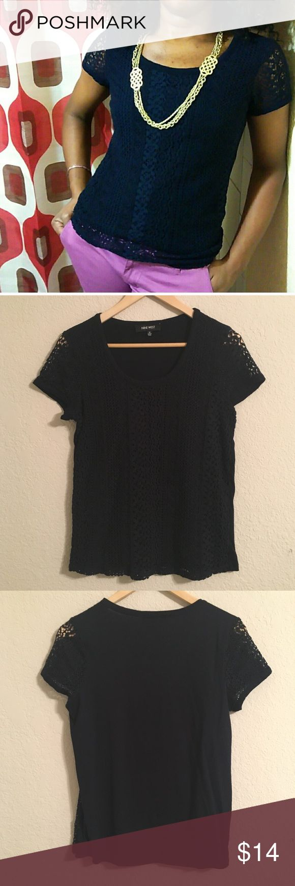 Nine West Navy Lace Tee Navy knit lace tee. Make an offer! 15% off bundles of 2 or more items. Nine West Tops Tees - Short Sleeve