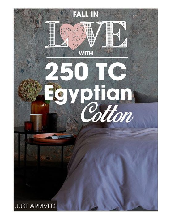 """When I fall in love, it will be forever."" - Jane Austen. Fall in love forever with our new affordably priced Egyptian cotton beddin! ‪#‎LoadsofLiving #SouthAfrica‬ ‪#‎bedroom #home"