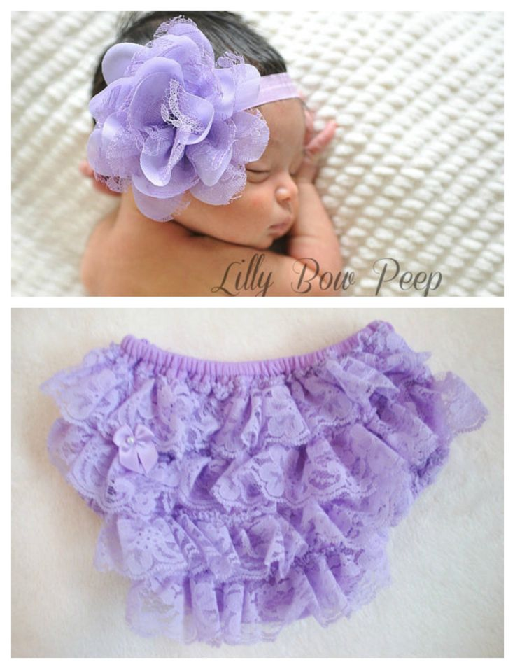 Baby Diaper Cover Outfit & Matching Lace Flower by LillyBowPeep, $17.95