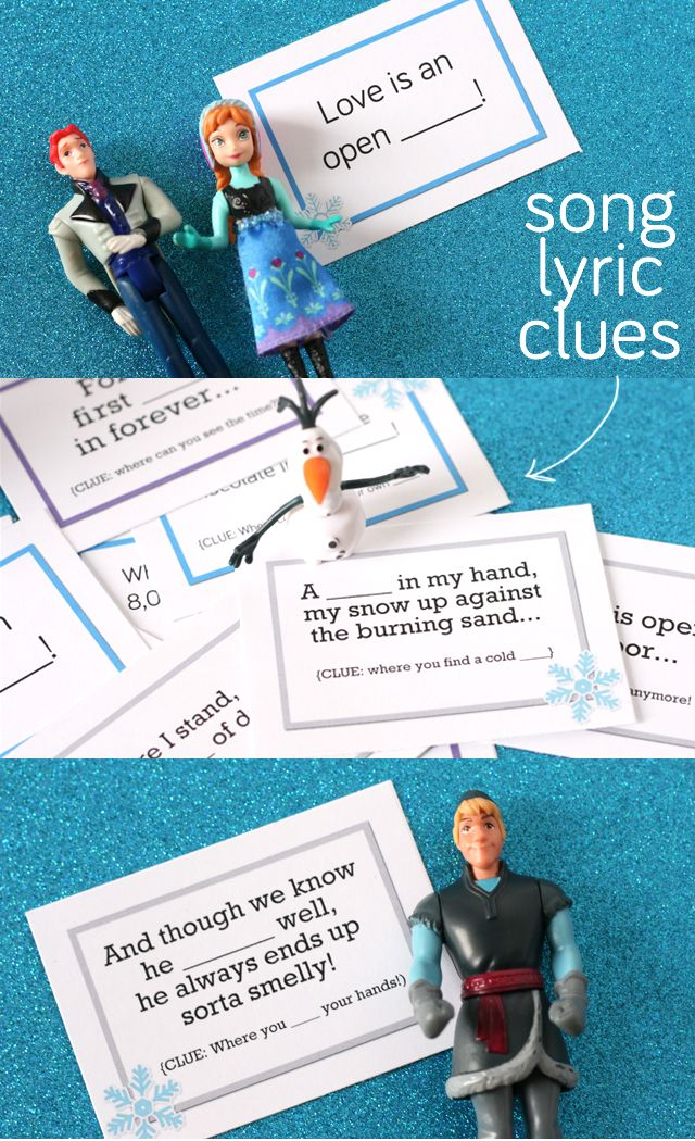 Printable Frozen Scavenger Hunt using song lyrics as clue locations. Brilliant! Not for age 3, but maybe 5?