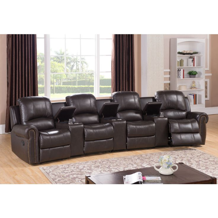 Walden four seat brown top grain leather recliner home for Best furniture for home theater