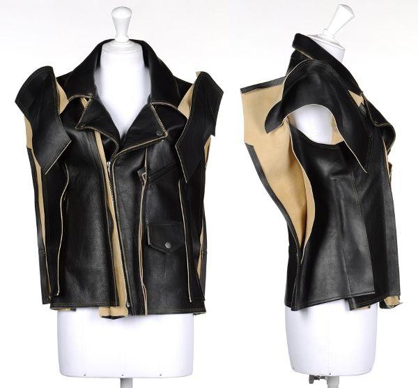 Кожаный жилет-трансформер лихо меняет цвет, с помощью пристежных рукавов превращается в косуху или в костюм Бэтмена.