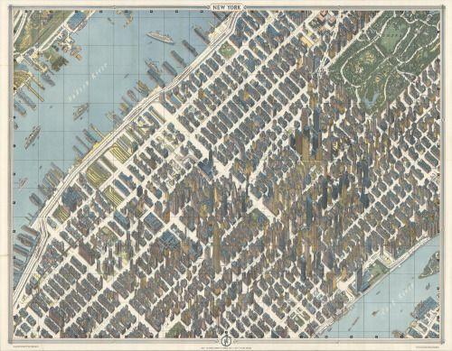 Bird's eye view map of Midtown Manhattan, New York City. Made by...