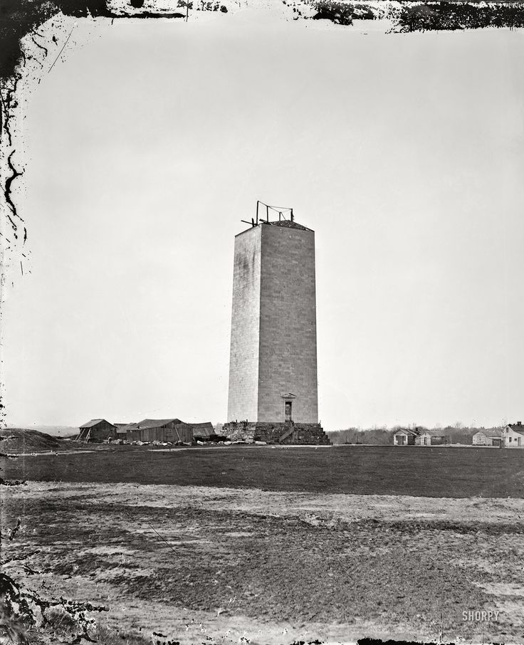 """""""Washington Monument as it stood for 25 years,"""" 1860. Glass-plate (wet collodion) photograph by Mathew Brady."""