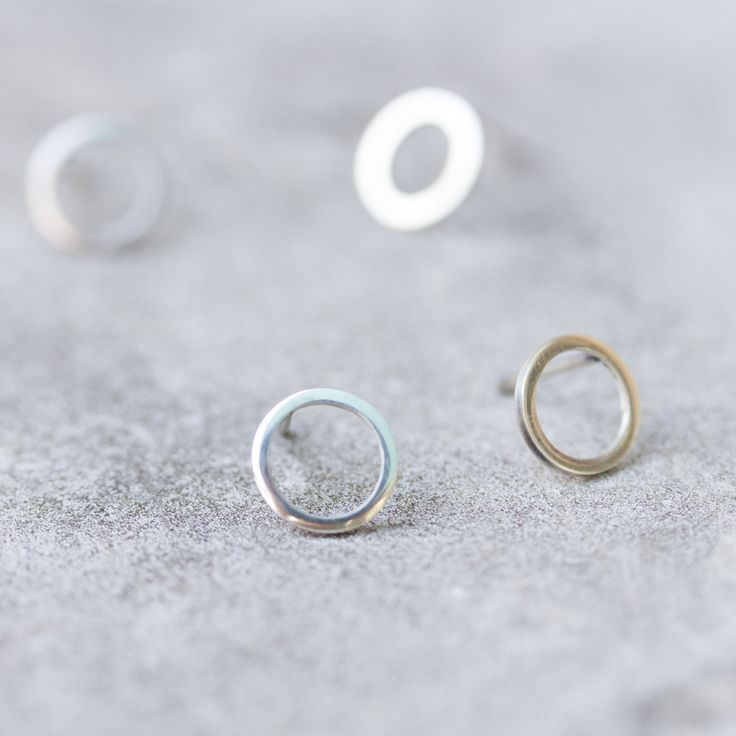 Small circle sterling silver stud earrings                                                                                                                                                     More