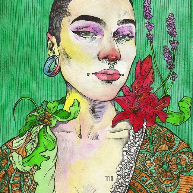 Королева цветов 🌸🍃 Зеленые глаза для полного озеленения  #trin #trin_art #annasomnaart
