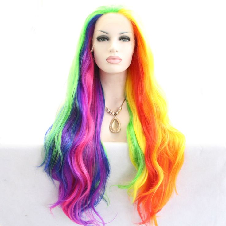 Fashion Heat Resistant Fiber Rainbow Colors Colorful  Natural Wave wig Synthetic Lace Front Wigs Long Body Wavy Hair For Women