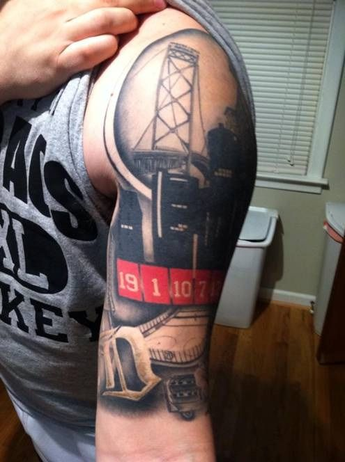 My brother's Detroit-themed tattoo by Jimmie Hayes at Liquid Chaos in Brownstown, MI