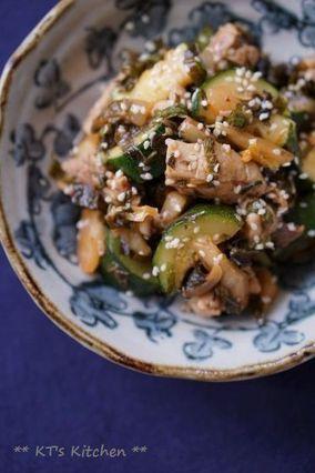 鶏肉とズッキーニのシソキムチ炒め|レシピブログ