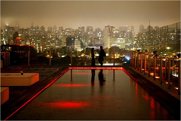 the rooftop bar at Unique, a chic hotel in the affluent Jardim Paulista district. - São Paulo