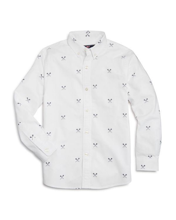 Vineyard Vines Boys' Lacrosse Print Oxford Shirt - Sizes S-xl