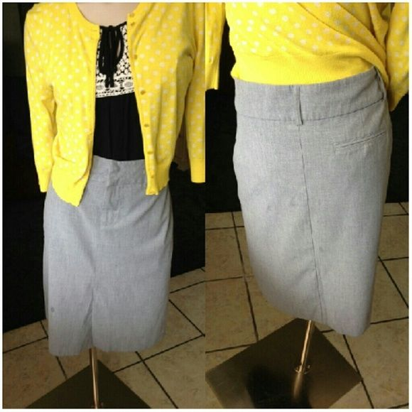 Old Navy Gray Skirt Old Navy Gray Stretch Straight Skirt  Add this piece to your basic wardrobe. Made of Rayon, polyester, and Lycra. Super comfortable. Measurements available upon request.  Size 14 Stretch. Old Navy Skirts