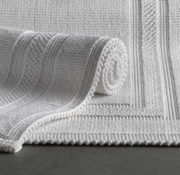 cotton woven bath rug restoration hardware i swear by - Bathroom Carpet
