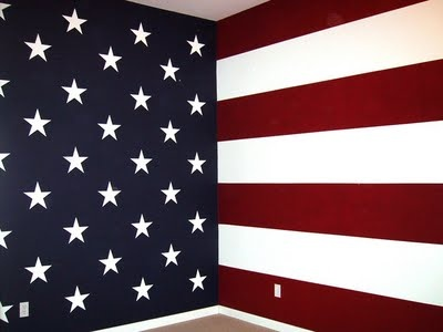 He wants a flag wall. I'm liking this two wall paint scheme