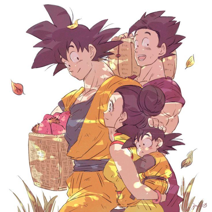 Son Family- Goten looks so adorable.