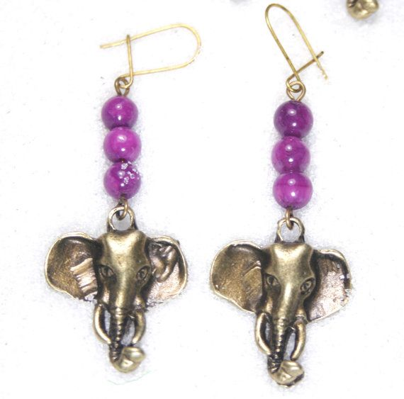 African earrings elephant earrings bronze by SanguineJewelry