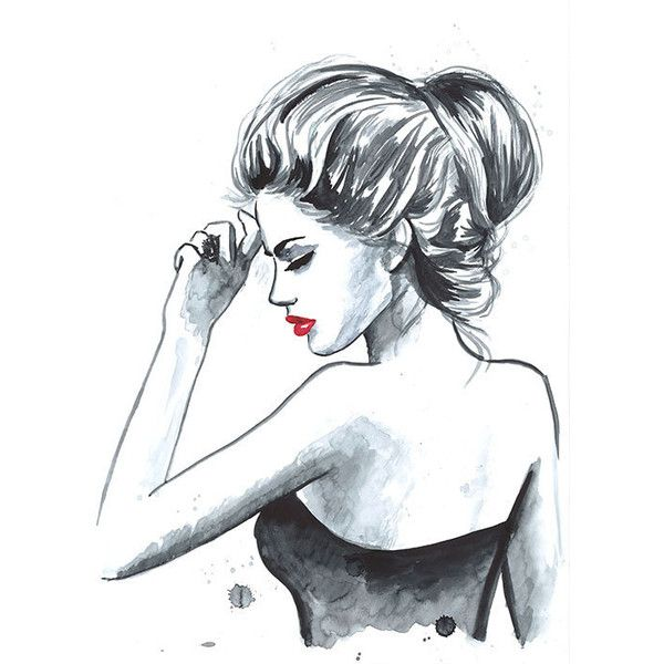 Print from Original Watercolor Fashion Illustration Modern Art... ($22) ❤ liked on Polyvore