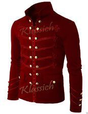 Rojo Para Hombre Unique Moderno Bordado Negro Chaqueta Militar Napoleón Gancho Negro