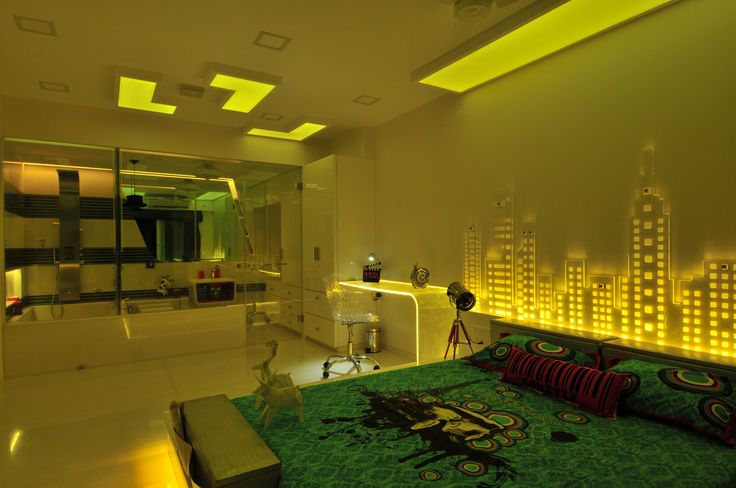 luxury bedroom with neon light design by architect sonali shah